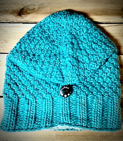 Aqua Floppy Beret button down knitted hat