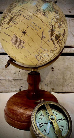 Globe with wooden base