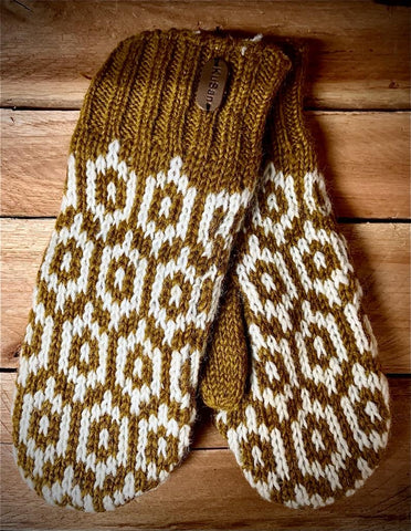 Caramel Fleece Lined Hand Knitted Mitts