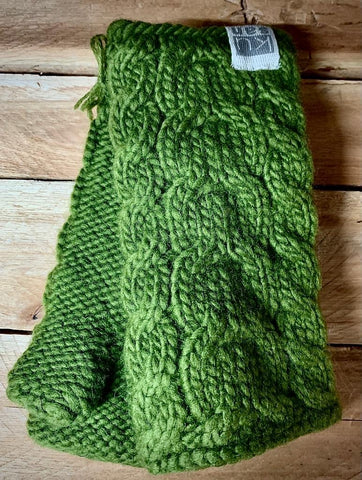 Khaki Cable Knit Hand Warmers with fleece lining