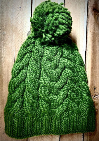 Khaki Cable Knit Floppy Bobble Hat with Pom