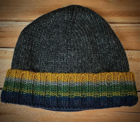 Charcoal Pull on Hat with turn up stripes