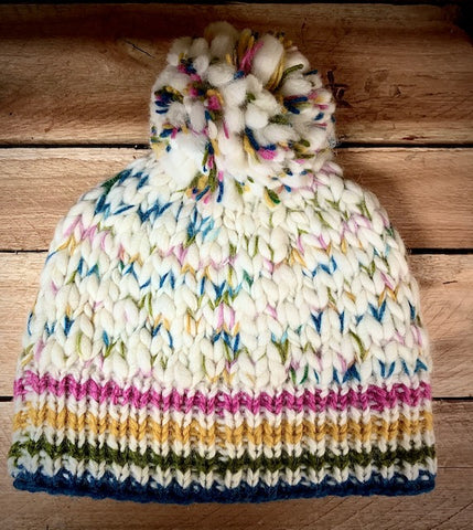 Uneven yarn hand knitted pom hat