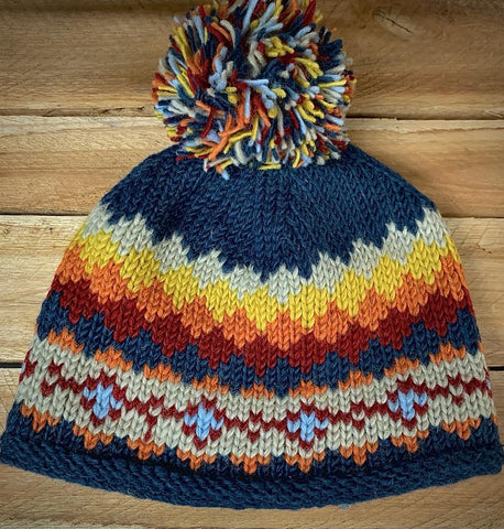 Navy Bobble Hat with Warm Diamond Pattern