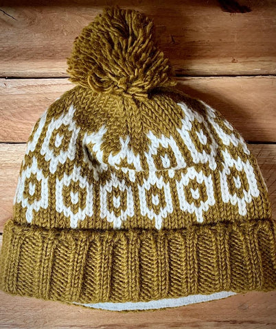 Caramel turn up Hand Knitted Pom Hat