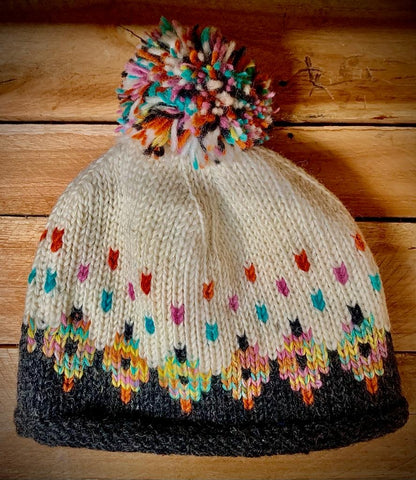 Turn up Bobble Hat with Pom in Charcoal Tutti Frutti pattern