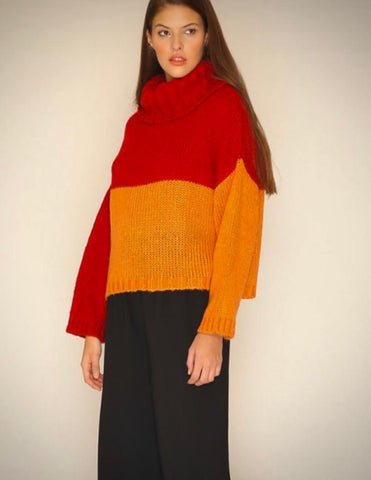 Roll neck Jumper - Ruby/Apricot