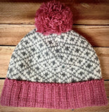 Rose Pink Jacquard Bobble Hat