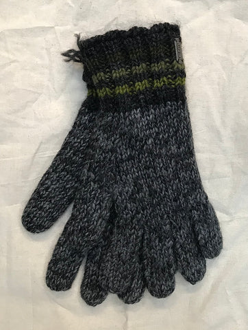Fleece lined gloves charcoal stripe