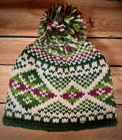 Green Patterned Bobble Hat