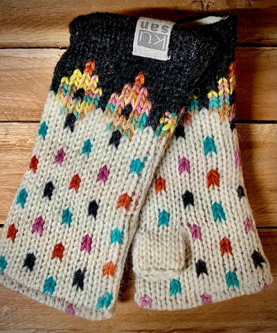 Fleece lined hand knitted Hand Warmers in Charcoal Tutti Frutti pattern