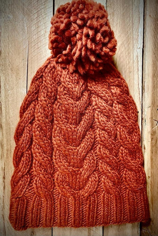 Orange Cable Knit Floppy Bobble Hat with Pom