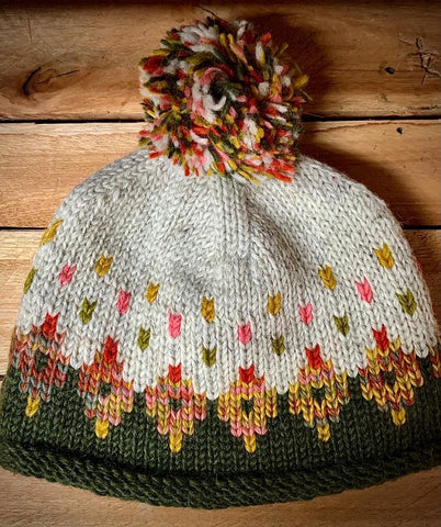 Turn up Bobble Hat with Pom in Khaki Tutti Frutti pattern
