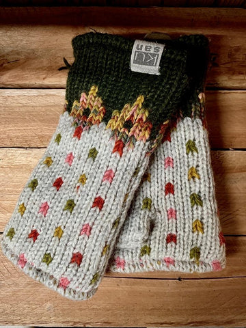 Fleece lined hand knitted Hand Warmers in Khaki Tutti Frutti pattern