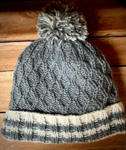 Grey Cable Knit Bobble Hat with turn up