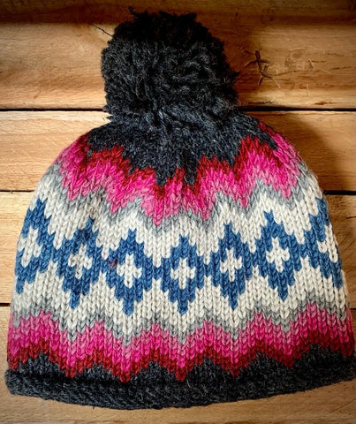 Bobble Hat with Pom in Pink Zig Zag pattern