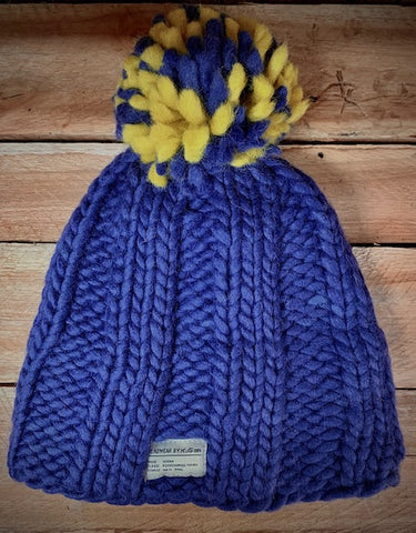 Hand knitted blue bobble hat
