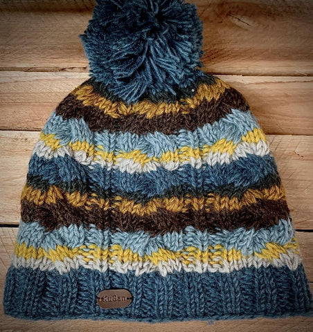 Stripe Bobble hat Denim/Mustard