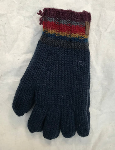 Fleece lined gloves navy stripe