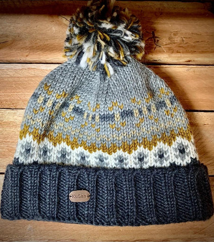 Grey pattern Pom Bobble Hat with turn up