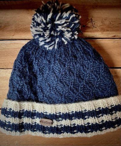 Navy Cable Knit Bobble Hat with turn up