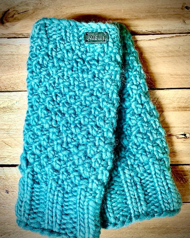 Aqua fleece lined knitted hand warmers