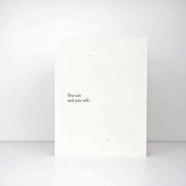 Of Note Stationers / Karte 'You can and you will' / Grußkarte / Letterpress / minimal