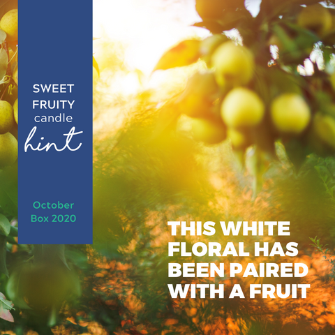 This white floral has been paired with a fruit. Did you get the pun?