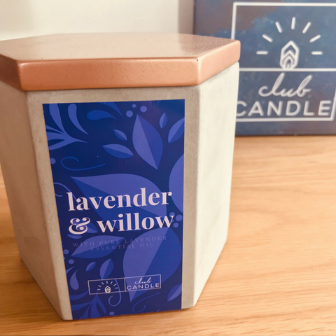 Lavender and Willow candle of the month