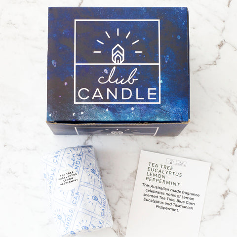 Club Candle of the Month is Tea Tree, Eucalyptus, Lemon, Peppermint