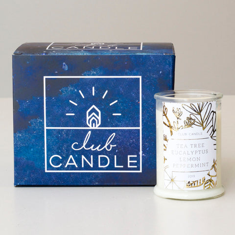 Tea Tree, Eucalyptus, Lemon, Peppermint candle of the month
