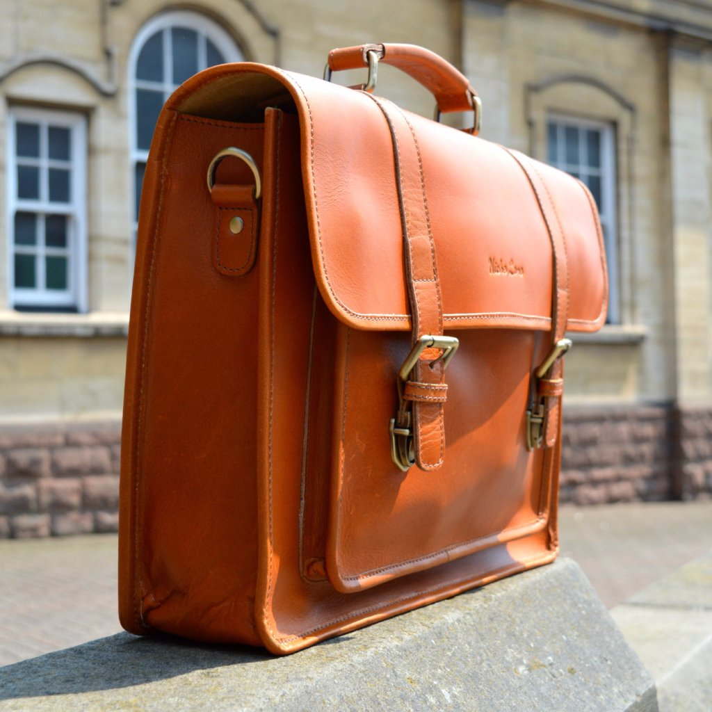 Buffalo Leather Briefcase Tan color