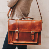 Women's laptop satchel Tan British Style