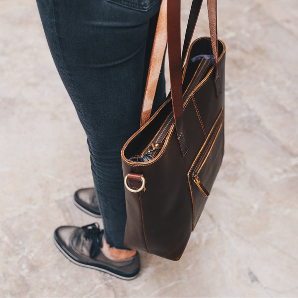 Buffalo Leather Tote with pockets