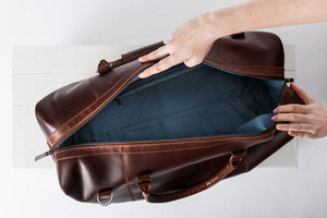 Dark Brown Buffalo Leather Holdall Bag