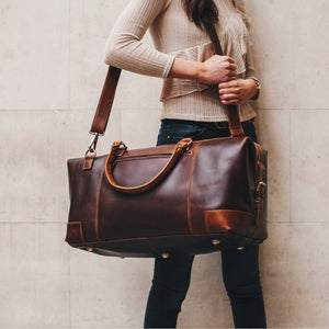 leather weekend bag for women