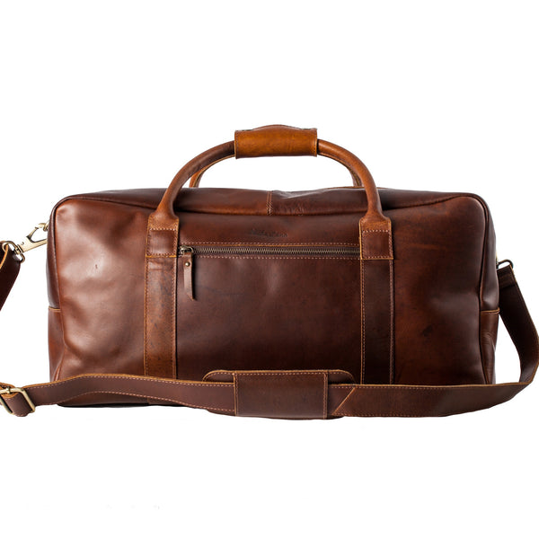 Mens leather holdall dark brown