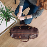 women's leather travel weekend bag