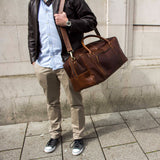 Leather Holdall weekender bag for men