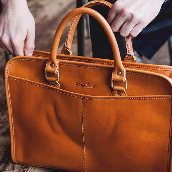 03dd991cac Genuine leather briefcase for men and women with laptop compartment ...