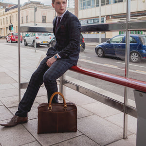 Leather Briefcase Satchel for men coffee