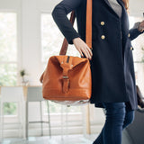 women's leather travel holdall