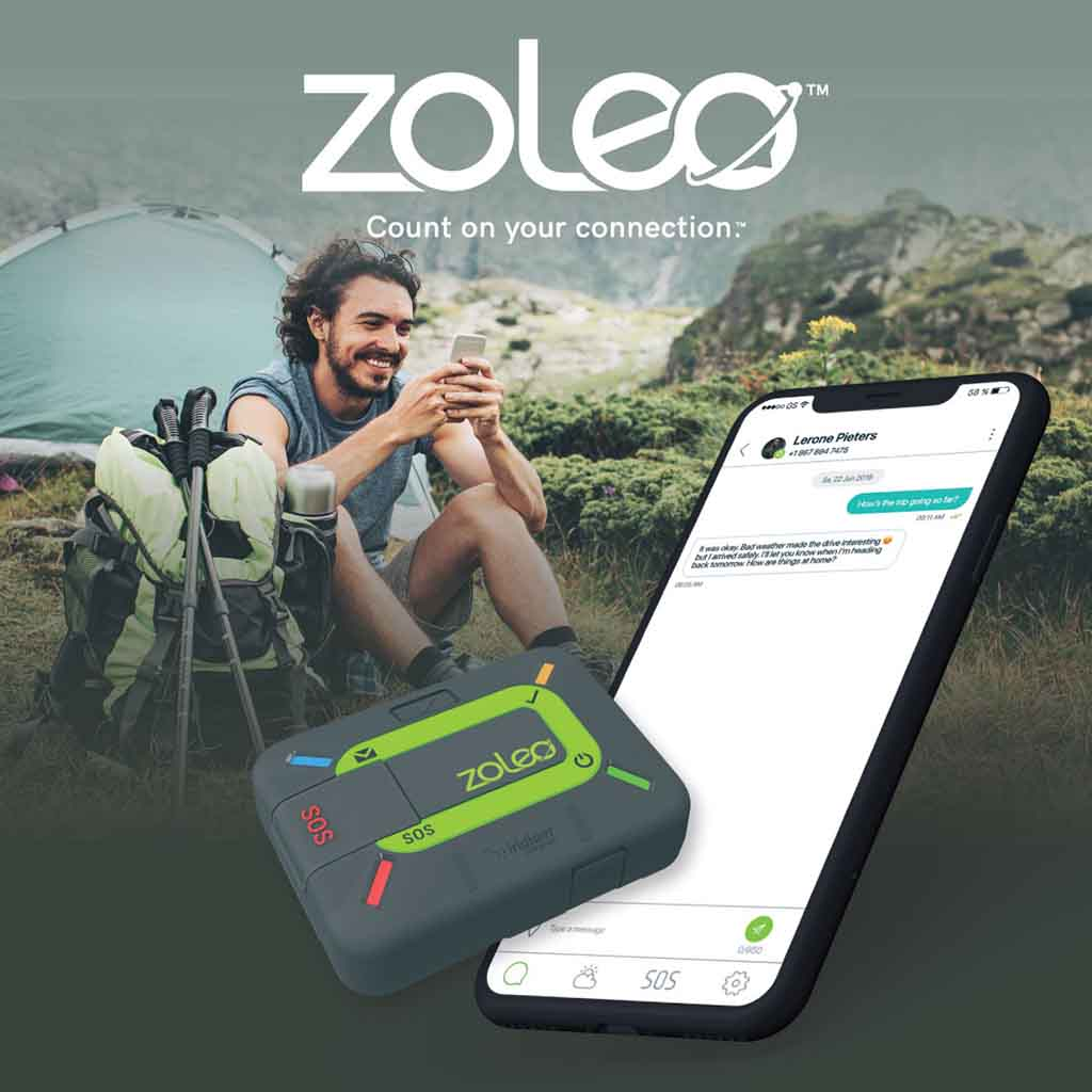 Man with ZOLEO  Satellite communicator - Keep Track GPS Perth