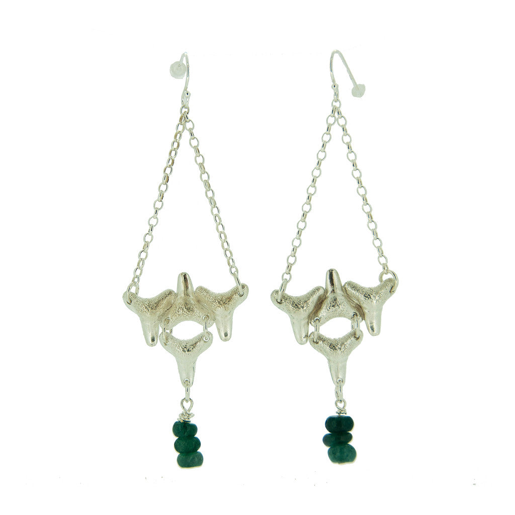 Four Shark Teeth Drops With Aventurine