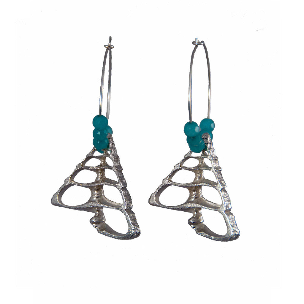 Pyramid Shell Hoops with Aqua Jade