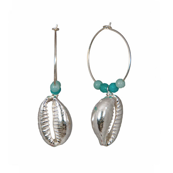 One Up, One Down Cowrie Hoops with Amazonite