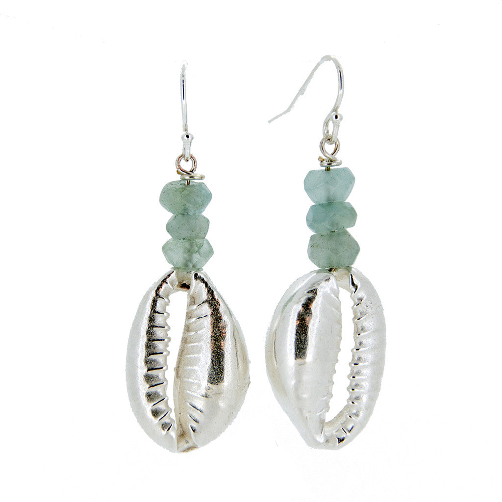 Cowrie Earrings with Aqua Beads