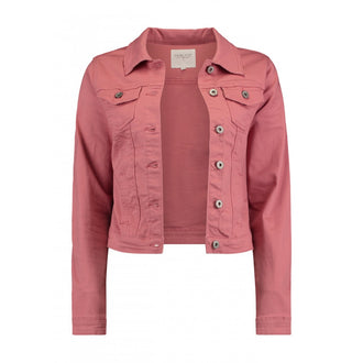 Enny Dusty Rose Button Detailed Denim Jacket