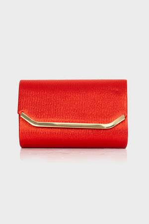 Carey Red Shimmer Satin Clutch