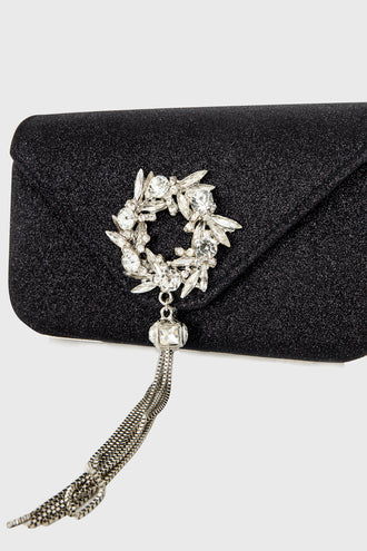 Pamela Black Embellished Hardcase Clutch